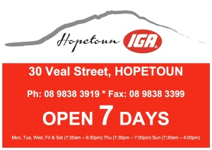 hopetoun IGA ad with hours